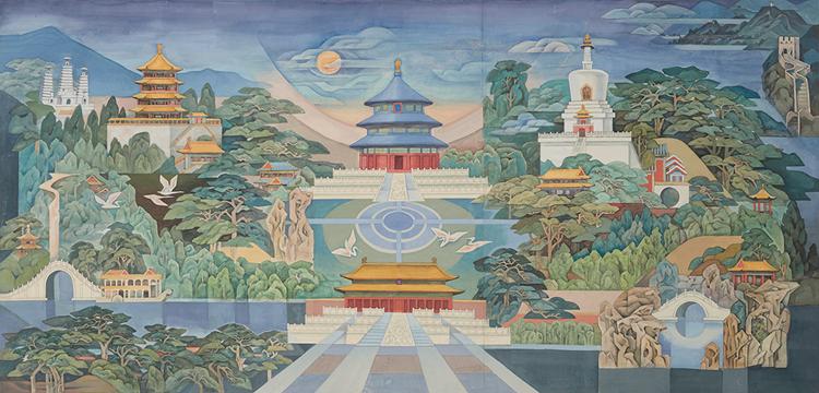 1,《天地人和》为人民大会堂北京厅设计壁画稿 纸本 水粉 73.5x152cm 2003年  张国藩与冯梅合作.jpg