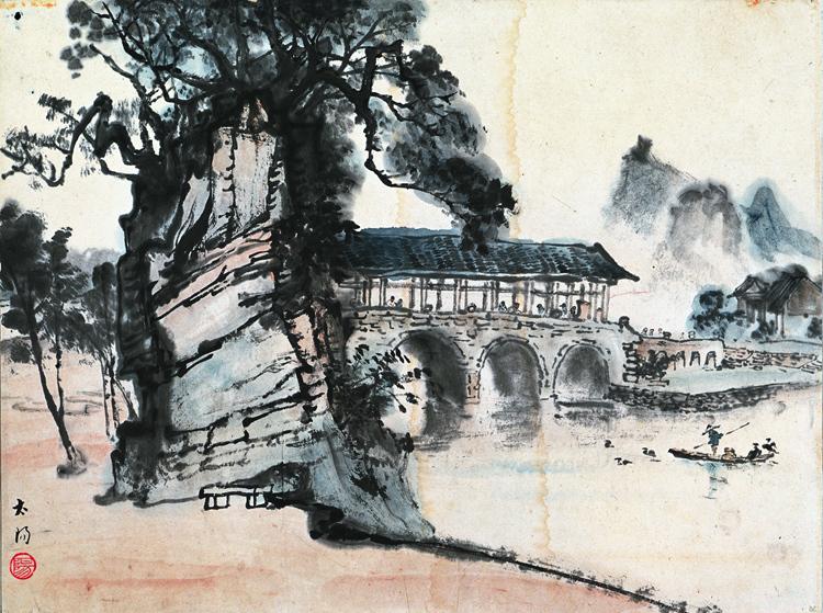 阳太阳《花桥》国画 34cm×46cm 1938年.jpg