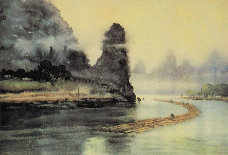 阳太阳《漓江木排》(水彩)40x54cm 1954年2月.jpg