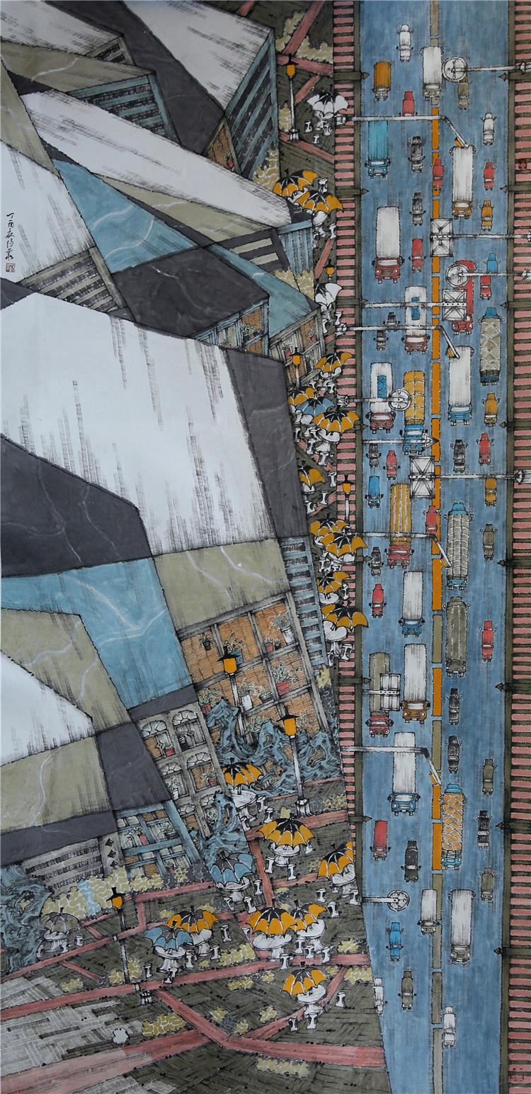 《驰援武汉——大国速度》  汤华  中国画.jpg