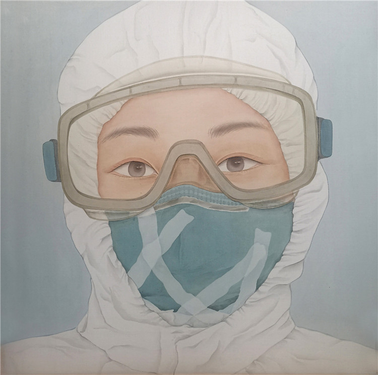《一线战士》向水英  中国画:.jpg