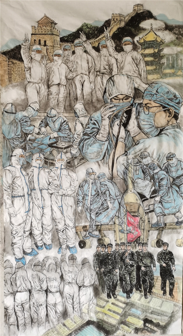 《医筑长城抗疫情》 李也青  中国画    题目190X96cm.jpg