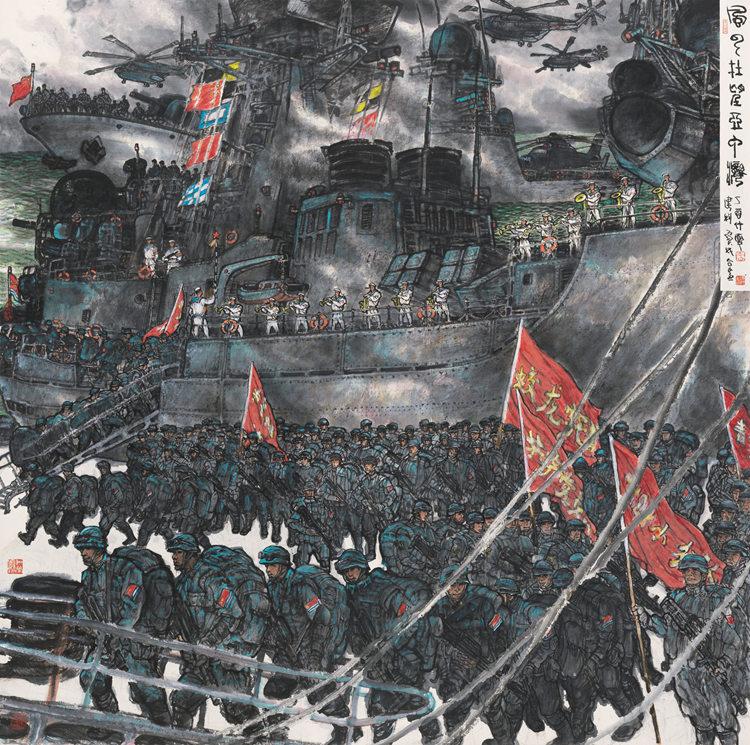 李宝林、吴建科-风云在望亚丁湾200cm×200cm 国画.jpg