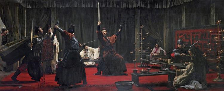 111楚汉相争—鸿门宴-王宏剑-(北京)- 230 cm × 560 cm-?油画-2016.jpg