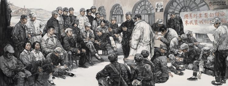 179《延安时期学习马克思主义蔚然成风》-王珂-2018年-中国画-200厘米×500厘米.jpg
