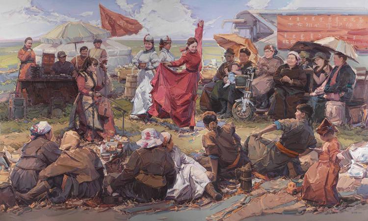 209(非选题号)《草原上的乌兰牧骑》-张可扬-油画-300 cm×500 cm.jpg