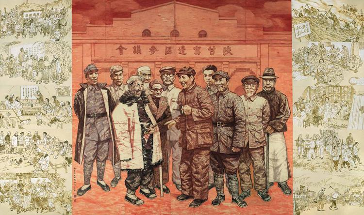 34-《抗日民主根据地的模范——陕甘宁边区》-杨力舟、王迎春-中国画-300 cm×500 cm.jpg