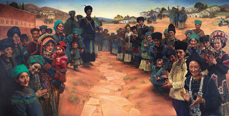 189-《彝家新村欢迎您》-庞茂琨-油画-300 cm×600 cm.jpg